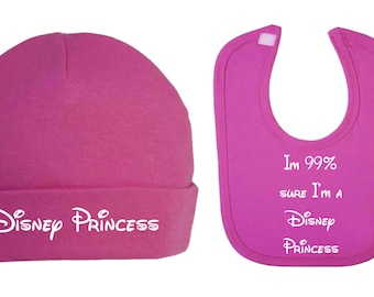 I'm 99% sure im a Disney Princess Inspired Beanie Hat and Bib Set Baby Clothes Baby Bibs Baby Shower Gifts  New baby gifts novelty gifts