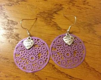 Metallic Purple metal earrings