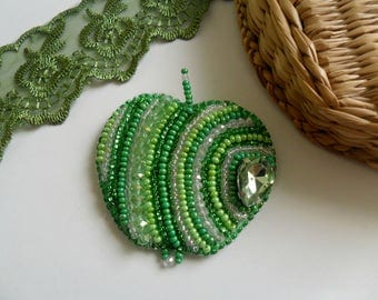 Green apple Bead emboidery Embroidered brooch  Exclusive jewelry Beaded brooch an Apple