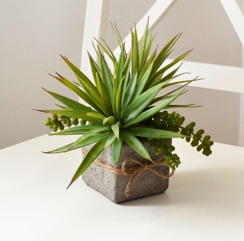 faux succulents in rustic pot farmhouse arrangement. Black Bedroom Furniture Sets. Home Design Ideas