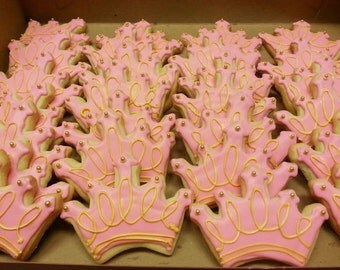 Princess Crown Cookies One Dozen - Princess Cookies - Crown Cookies - Princess Crown Cookies - Cookie Favors - Decorated Cookies