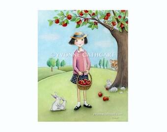 Girls bedroom art, baby nursery decor, nursery wall art, kids art poster, prints for girls, bunny rabbit art, kitchen wall art, kids prints