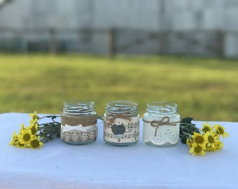 12 Tealight Lace Wedding Jars Ideal for Vintage/Rustic/Beach/Country Weddings
