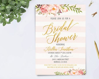 Bridal Shower Invitation, Floral Bridal Shower Invitation, Boho Bridal Shower Invite, Spring Bridal Party, Gold Foil Typography Invite