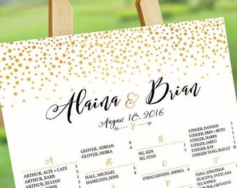Wedding Seating Chart Poster, Wedding Seating Chart, Printable Wedding Seating Chart, Gold Polka Dots,  Gold Glitter Sparkles Confetti Dots