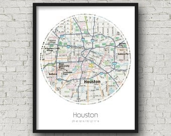 Houston Art Houston Anniversary Gifts for Boyfriend Engagement Gift Idea - Photographed Road Atlas Artwork with a Unique Design