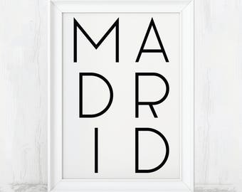 Madrid Print, Spain Poster, Spain Wall Art, Spain Travel Poster, Spain Travel art, Spain Art Print, Real Madrid, Real Madrid Poster, Decor