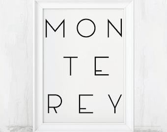 Monterey Art, Monterey Bay Poster, Monterey Bay Print, Monterey Decor, Monterey Poster, Monterey Souvenir, Monterey Artwork, Monterey Beach