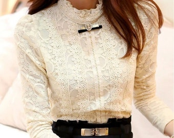 ADALINE. Vintage-inspired crochet lace blouse in cream / white color.
