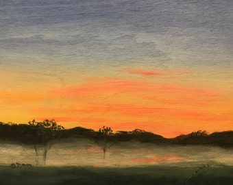 "Foggy Sunrise - 8""x6"" Original Acrylic Painting by Christa Smith, Joy of Paint, small art, wood"