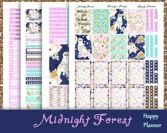 SALE~Midnight Forest~Printable Happy Planner Stickers Weekly Kit For The Classic MAMBI Happy Planner