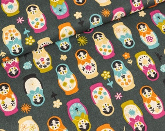 Cotton fabric matryoshka stained antrazith (9,90 EUR / meter)