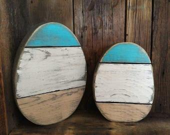 Reclaimed wood egg, Easter decor,  painted wood egg, mantle decor,  rustic egg