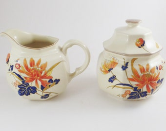 Vintage Mikasa creamer and sugar bowl set-1980's-Orange and cobalt blue flower motif-Continental Ivory F4005 Majestic- 3 piece set