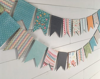 Colorful Banner, Colorful Bunting, Aqua Banner, Aqua Bunting, Paper Banner, Paper Bunting, Flag Banner, Flag Bunting, Party Banner