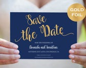 Save The Date Template  Navy Blue and Gold Save The Date Printable  Navy Gold Wedding  Save The Date Downloadable Wedding WDH782135