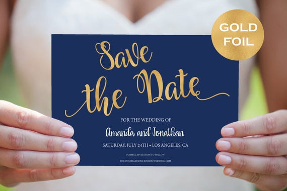 Save The Date Template - Navy Blue and Gold Save The Date Printable - Navy Gold Wedding - Save The Date Downloadable Wedding #WDH782135