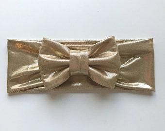 Gold Big Bow Headband, gold bow, gold headband, big headband, newborn photography prop
