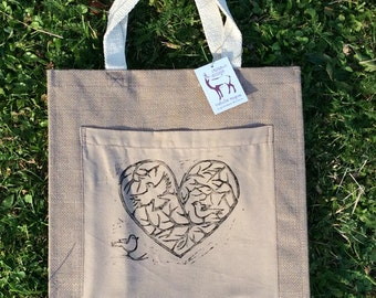 Burlap heart and birds canvas tote bag