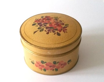 Very old handpainted storage tin with flowers