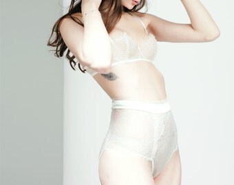 Bridal Lingerie Set / Demi-Cup bra and High Waisted Knickers
