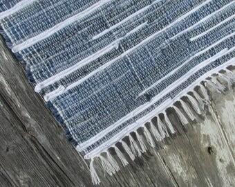 Thunderhead- Woven Rag Rug- 35x27 Blue and White Denim Rug, denim rug, denim rag rug, blue jean rug, woven denim rug, blue rug woven rug rag