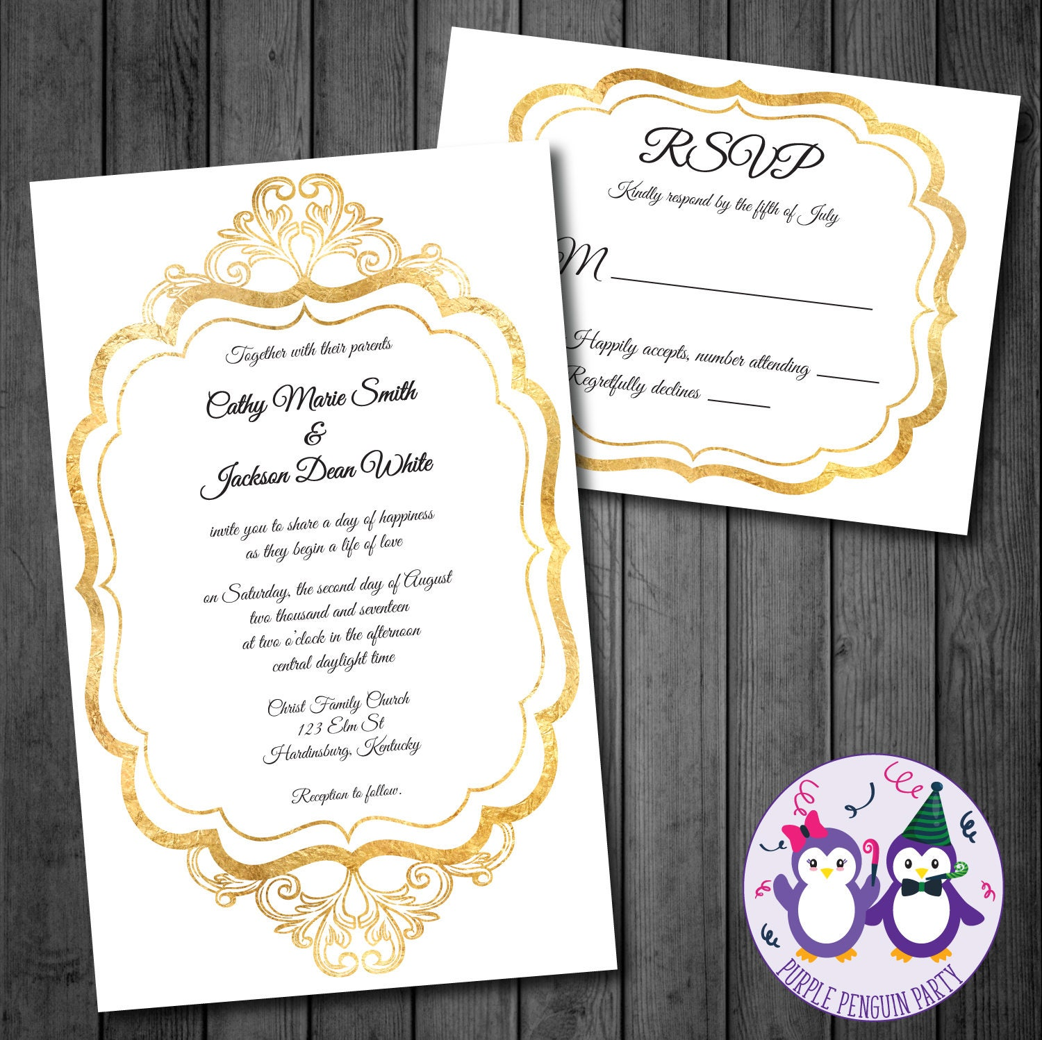 Filigree Wedding Invitation in Gold Wedding and RSVP Invitation