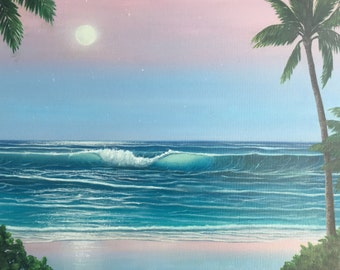 Tropical painting, Beach, Ocean, Water, Palm tree, Orginal landscape oil painting, Hand painted, S scapes art, Amy Sarkisian