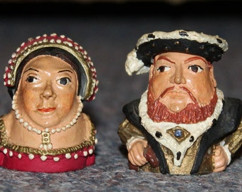 Painted articulated thimbles English pewter historical Henry VIII Anne Boleyn