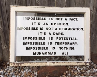 Muhammad Ali Impossible Quote Vintage Window Sign
