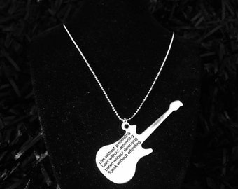 """Silver plated quitar necklace, guitar necklace with Drake's quote """"Live without pretending..."""", personalized necklace"""