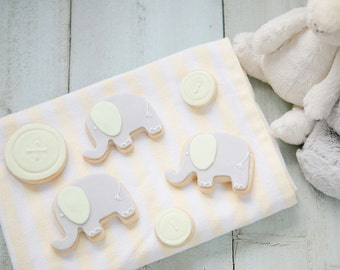 New Baby Gift - Biscuits for New Mum - Mum to Be Gift - Baby Shower Biscuits - Button and Elephant Biscuits - New Baby Cookies