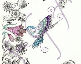 Humming Along - Hummingbird Zentangle Art Print