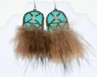 Native Bead Embroidered Earring with Real Raccoon Fur