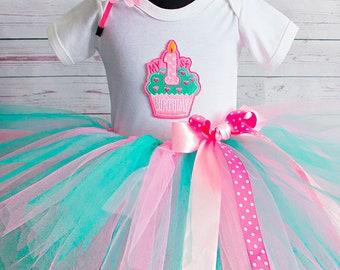 Mint & pink tutu birthday outfit 1st Birthday tutu outfit Birthday Tutu Set baby tutu from Europe