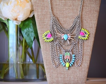 The Julisa multicolor chain statement necklace