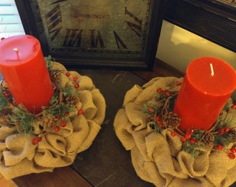 Pair of burlap candle rings with decorative pine and berries/ mini wreaths