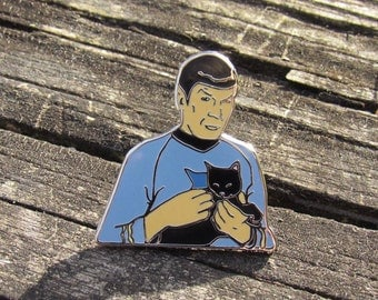 Spock Holding a Cat - Silver Hard Enamel Pin, Spock pin, Star Trek pin, Black Cats
