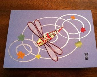Handmade Origami Dragonfly Card