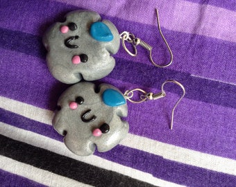 Polymer clay cloud earrings