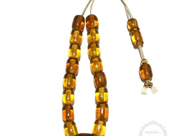Amber Resin handmade komboloi created with 17+2 pressed manufacture Amber Resin beads in barrel shape of 13x16mm