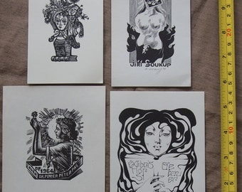 4 Original Vintage Art Bookplate Woodcuts (Ex-Libris)