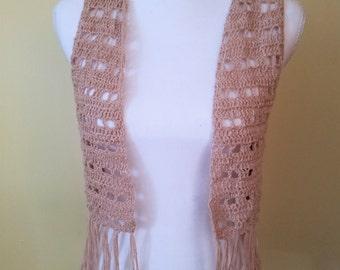 Cream linen crochet vest with fringe, boho vest, festival vest, hippy vest, boho top
