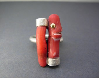 Silver ring with gold and Red bamboo coral
