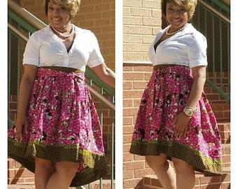 African Print Knee Length Skirt