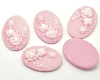 10X PC  Resin Flower Emboss Oval Cameo Embellishment Cabochon Cameos