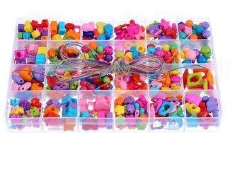 Multicolor Acrylic Beads For Jewelry Making Cords Set Kid Creative DIY Necklace Bracelet Kit  1Box