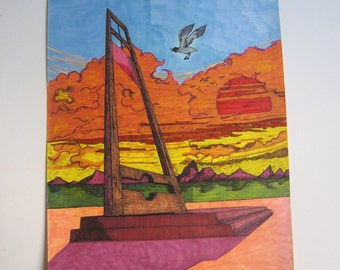 80's original painting guillotine and bird, signed