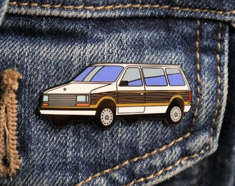 Wood Paneled Minivan Hard Enamel Lapel Pin - White Plymouth Voyager Enamel Pin Retro Flair