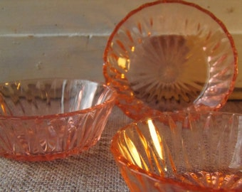 3 French Vintage Pink Cut Glass Bonbon Dishes